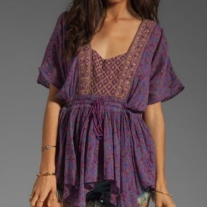 Free People purple embroidered top